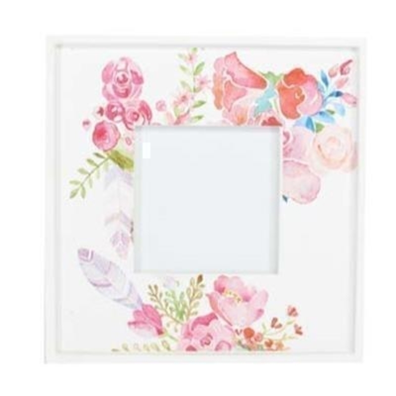 Pink floral wooden picture frame with various painted flowers design by the designer Gisela Graham who designs unique Easter decorations. (LxWxD) 23x23x1.5cm