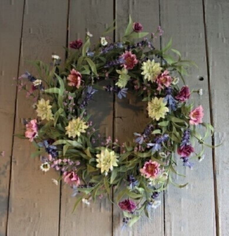 Pink and Lilac Artifical Meadow Wreath by Bloomsberry: Booker Gifts