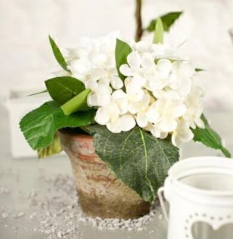 Potted Hydrangea In Aged Terracotta White Silk Flowers: Booker Gifts