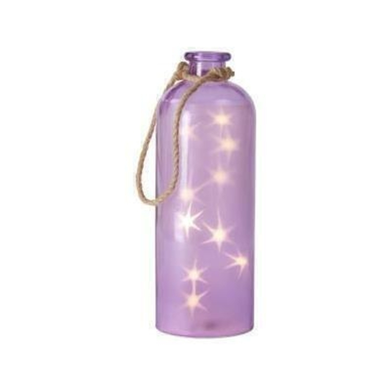 Giant purple glass bottle with LED stars inside perfect to light up any space whilst maintaining the aesthetic quality designed by Transomnia