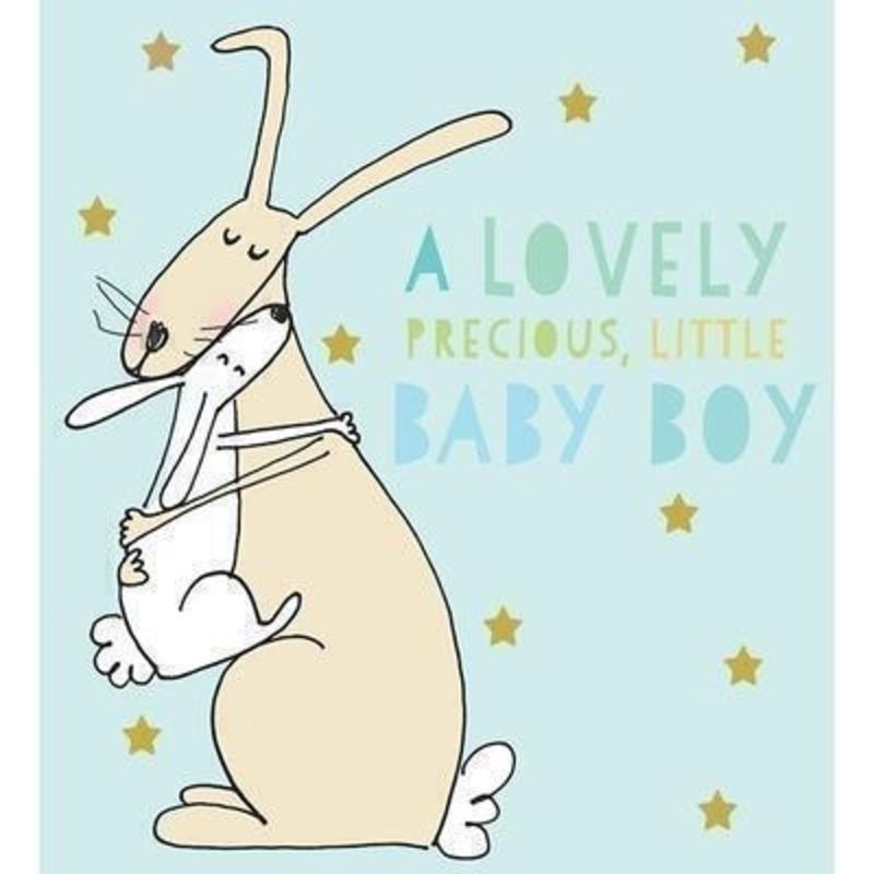 Rabbits Cuddling Baby Boy card by Liz and Pip: Booker Gifts