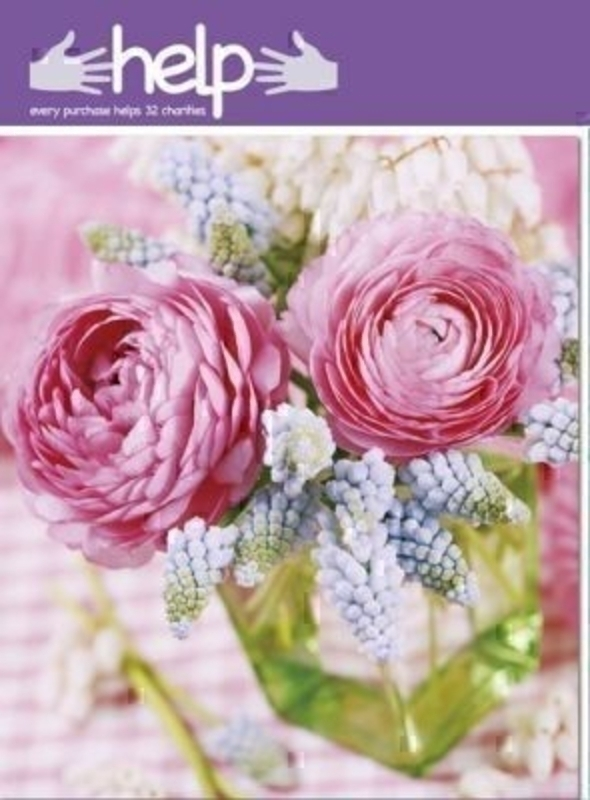 Ranunculus and Muscari Flower Vase Card Help Paper Rose: Booker Gifts