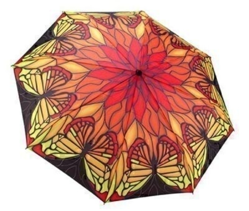 Red Butterfly Tiffany Lamp Umbrella - Folding: Booker Gifts