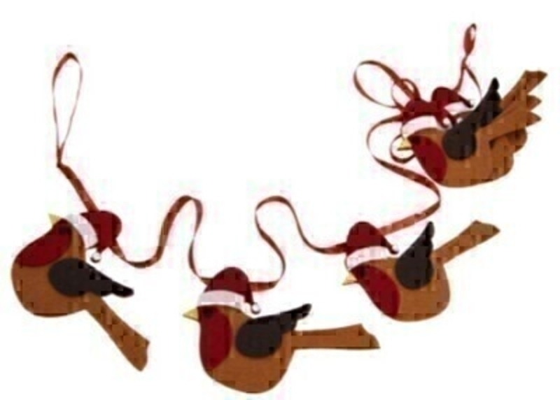 Red Robin Christmas Garland by Gisela Graham: Booker Gifts