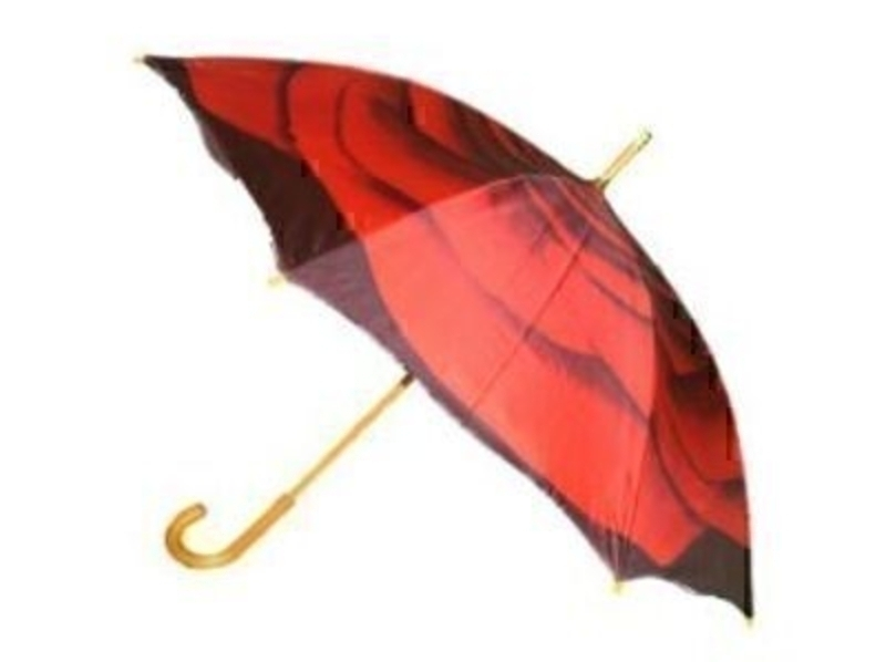 This stunning new umbrella from ArtBrollies features a beautiful Red Rose design on a black background. Shaped edges give that extra wow factor! Manual walking stick umbrella with fibreglass ribs - allowing for flexibility in windy conditions - a wooden hoo