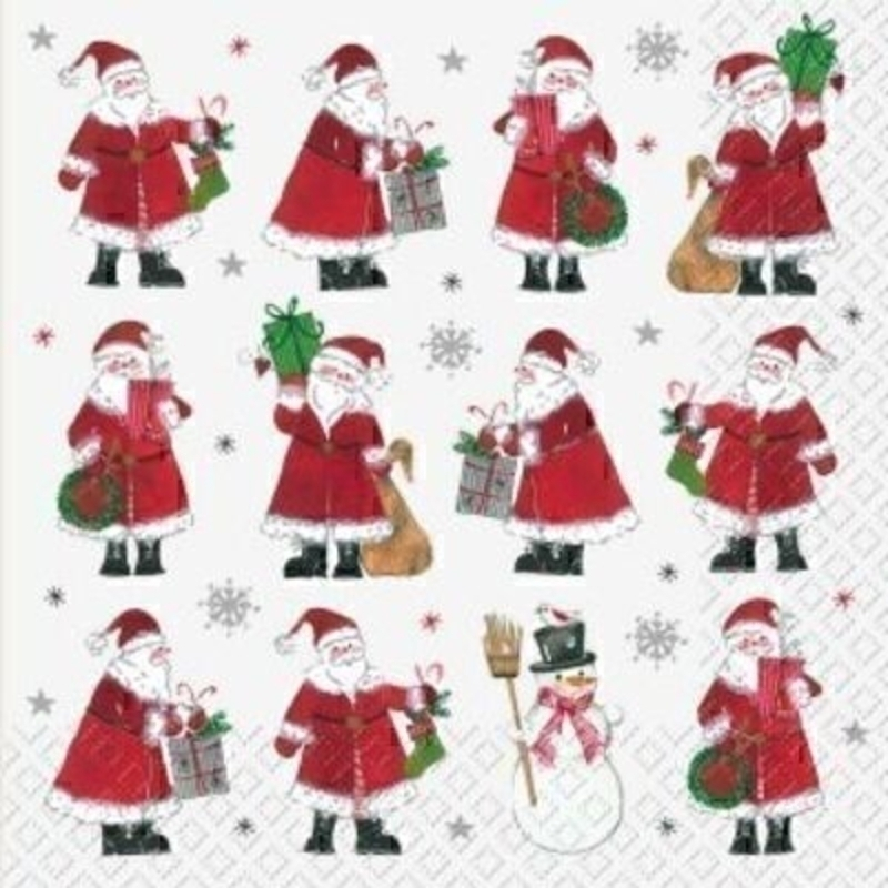 Beautiful Red Santa Christmas napkins showing Santa filling stockings with presents by Swiss designer Stewo. 6 napkins in a pack. 3-ply. Size: 33x33cm. Environmentally friendly cellulose printed with water-based inks.