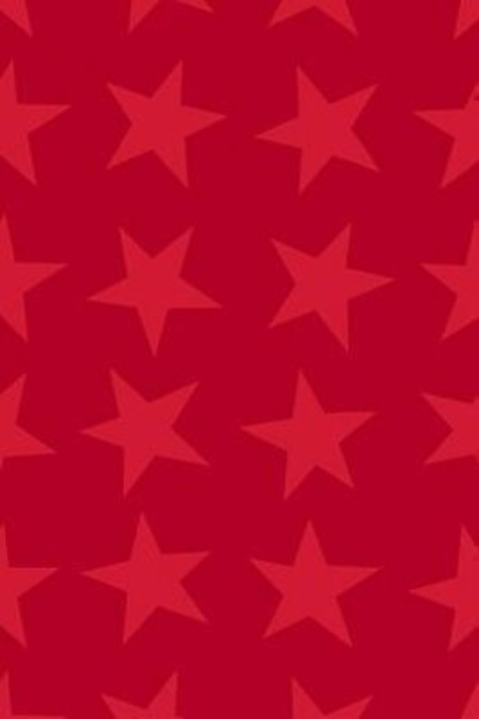 Red star Gleam Christmas roll wrap by Swiss designer Stewo. Quality wrapping paper. Metallised - 76gsm. Size 70cm x 1.5m.