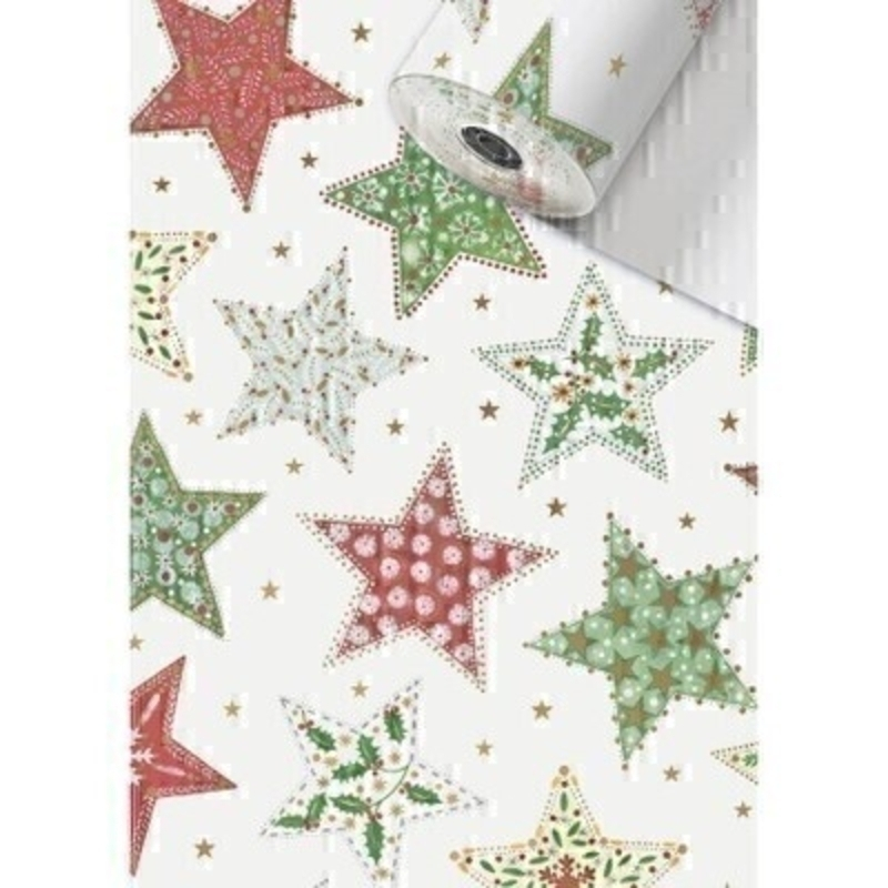 Red green and white festive stars Christmas roll wrap paper by Swiss designer Stewo. Bright white coated 80gsm Christmas wrapping paper. Approx size of roll 70cm x 2metres.