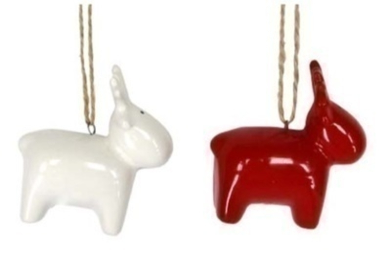 Red or White Ceramic Reindeer Hanging Decoration By Gisela Graham: Booker Gifts