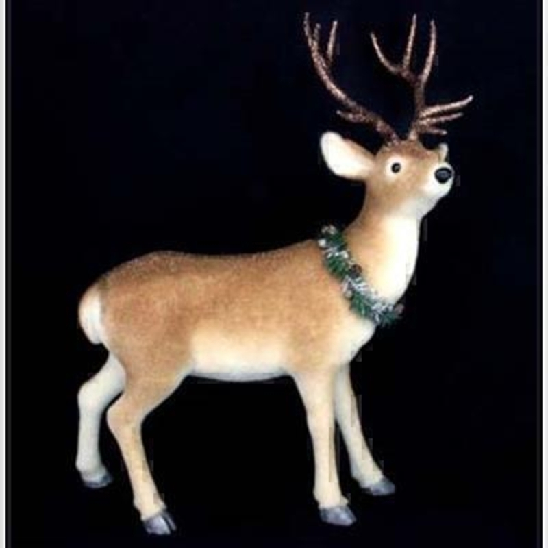 This free standing Reindeer ornament can be used on your mantelpiece window ledge or table to bring a classic Christmas theme to your home. Comes with brown flock fur and adorned with festive wreath around his neck. Approx size (LxWxD) 70x55x30cm.
