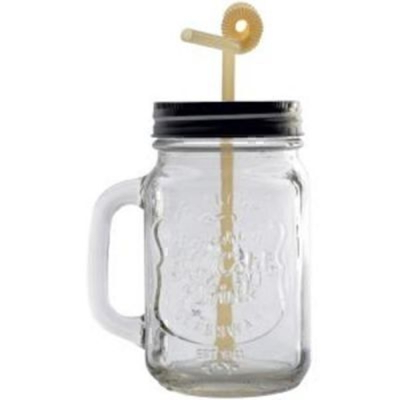 Retro Glass Mug with Straw by Transomnia: Booker Gifts