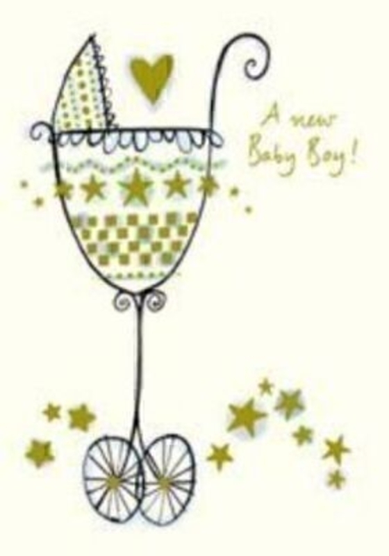 Richard Barrett Pram Baby Boy Card by Paper Rose. Size 5