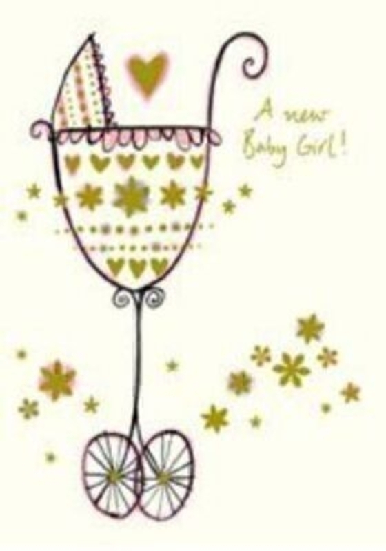 Richard Barrett Pram Baby Girl Card by Paper Rose. Size 5