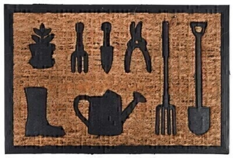 Coir and Rubber Doormat with Garden Tools design.  Very useful to have outside your door to clean your shoes/boots.  A perfect gift for an avid gardener. Dimensions 60 x 9 cm