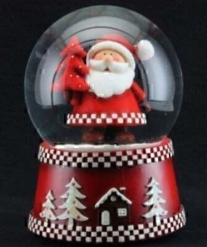 Scandi Santa Music Snow Dome Chrismas Decoration by Gisela Graham: Booker Gifts