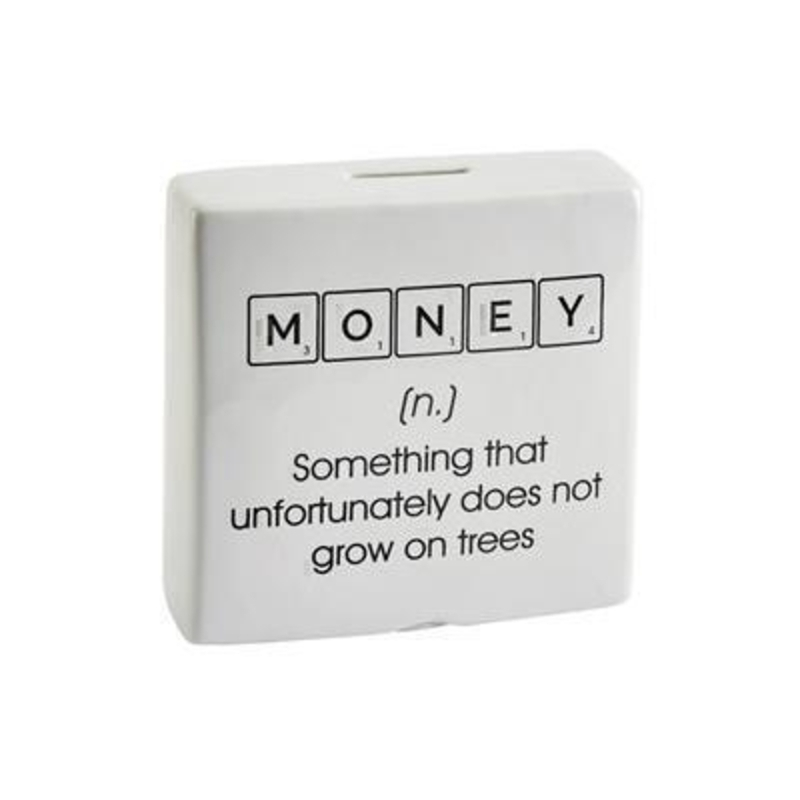 This choice of money boxes have a Scrabble themed print of either Poor or Money followed by a sarcastic dictionary definition sure to make anyone giggle designed by Transomnia
