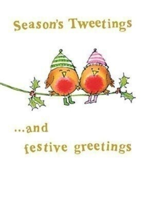 Seasons Tweetings Christmas Card -Robins by Paper Rose: Booker Gifts