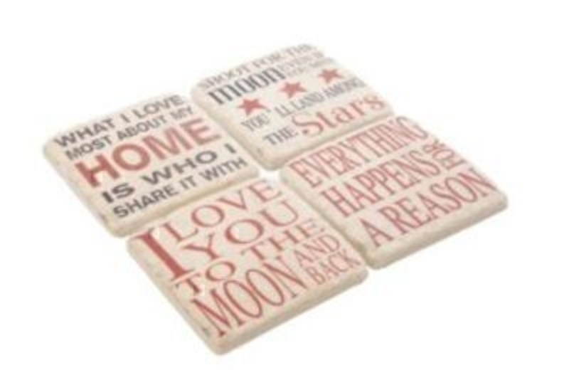 Set Of 4 Resin Saying Coasters In Red And Cream: Booker Gifts
