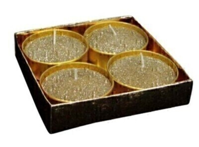Set of 4 Large Tea Light Gold Glitter Wax Candle by Gisela Graham: Booker Gifts