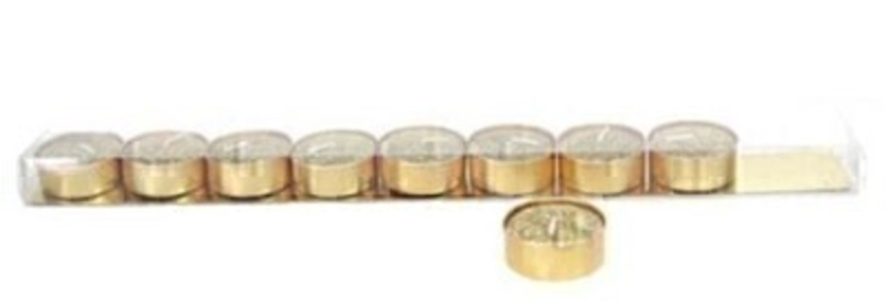 Set of 9 Tea Light Gold Glitter Wax Candle by Gisela Graham: Booker Gifts
