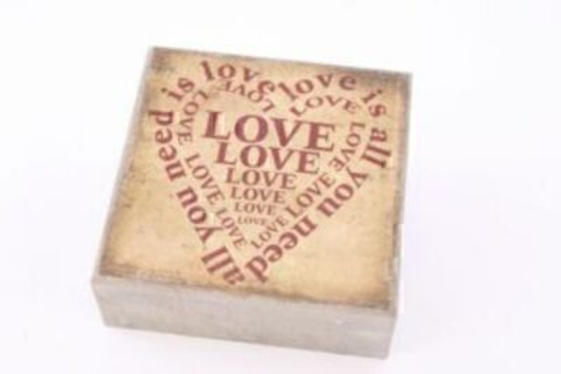 Shabby Chic distressed look box sign with a heart shape make from the words 'Love' A perfect anniversary gift. Size 22x22x8cm