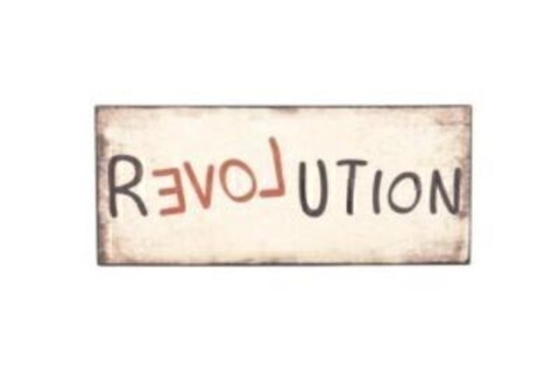 Shabby Chic wooden saying sign / plaque by Heaven Sends with Caption 'Revolution' with the 'love' part writing in red and backwards to highlight. Size 30x13x1cm.
