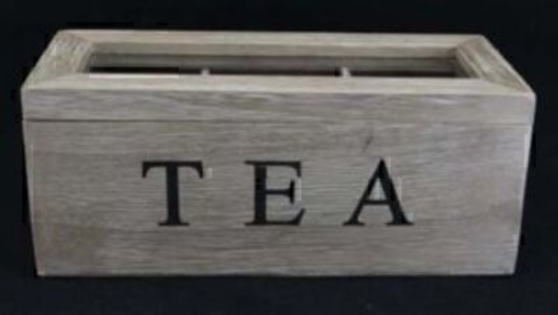 Wooden tea box with glass lid by Gisela Graham. Shabby Chic Look. 'Tea' written across the front in black writing. Size 23x10x9cm