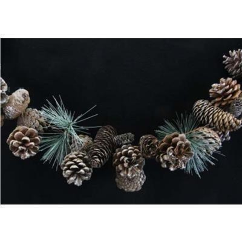 Silver Glittered Cone Fir Garland by Gisela Graham: Booker Gifts