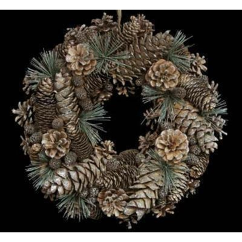 Silver Glittered Cone Fir Wreath by Gisela Graham: Booker Gifts