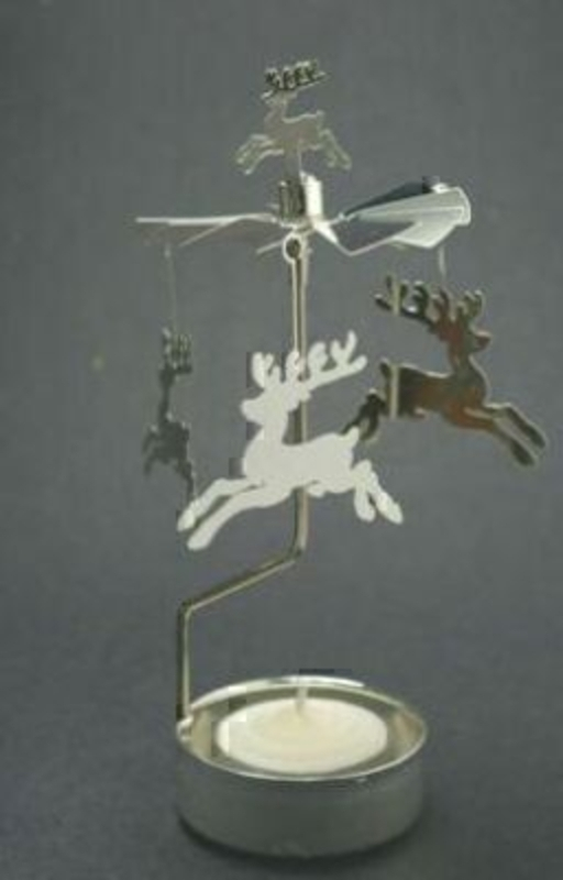 Silver reindeer Christmas Spinner works with a T-light Candle - candle included. Assembled size 15x7cm.