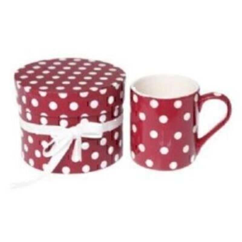 Hand painted small retro spot coffee mug in a gift box. Not suitable for dishwashers. Height 8cm diameter 7cm