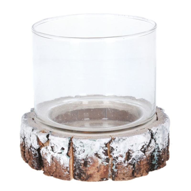 Small Tea Light Holder on Resin Log Slice by Gisela Graham: Booker Gifts