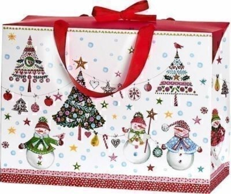 Snowman and Christmas Tree Gift Bag Jesper Medium by Stewo. This quality gift bag by Swiss designers Stewo will not disappoint. It has all the quality and detailing you would expect from Stewo. This gift bag is made from thick card. Top part of this box f