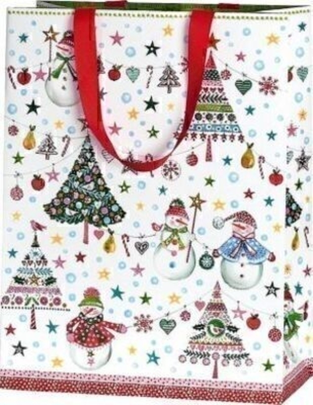 Snowman and Christmas Tree Gift Bag Jesper Large Portrait by Stewo. This quality gift bag by Swiss designers Stewo will not disappoint. It has all the quality and detailing you would expect from Stewo. This gift bag is made from thick card. The strong han