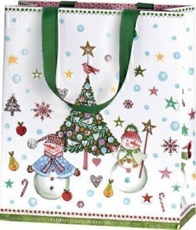 Snowman and Christmas Tree Gift Bag Jesper Medium by Stewo. This quality gift bag by Swiss designers Stewo will not disappoint. It has all the quality and detailing you would expect from Stewo. This gift bag is made from thick card. The strong handles are