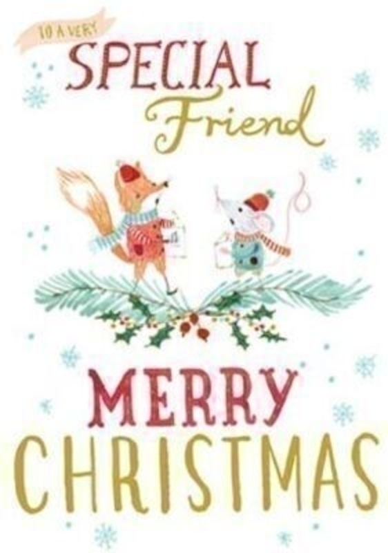 Special Friend Christmas Card - Mouse and Fox by Periwinkle Avocado Designs at Paper Rose. Embossed and foiled design. Comes with Red Envelope. 'To a very Special Friend Merry Christmas' on the front. 'Wishing you a Christmas that's as fabulous as you