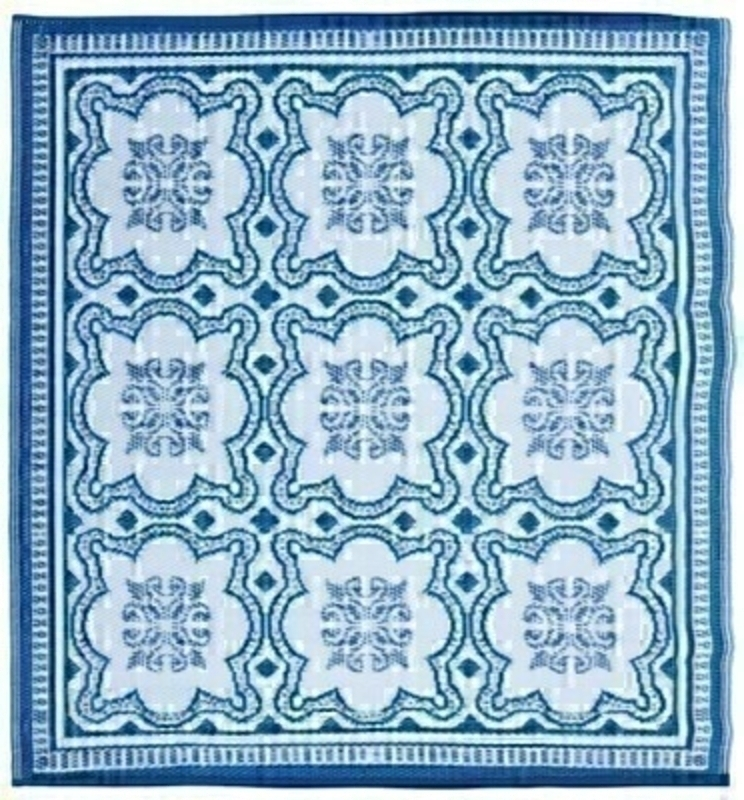 Square Rug Blue Mosaic Garden Carpet: Booker Gifts