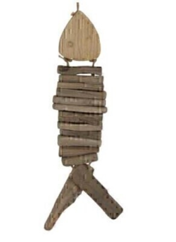 Rustic hanging stacked wooden fish decoration by designer Gisela Graham.   Add a rustic nautical touch to your home décor with this hanging fish decoration.  Made from natural wood and hung with a rope.  Would look great in the home or bathroom.  Matching