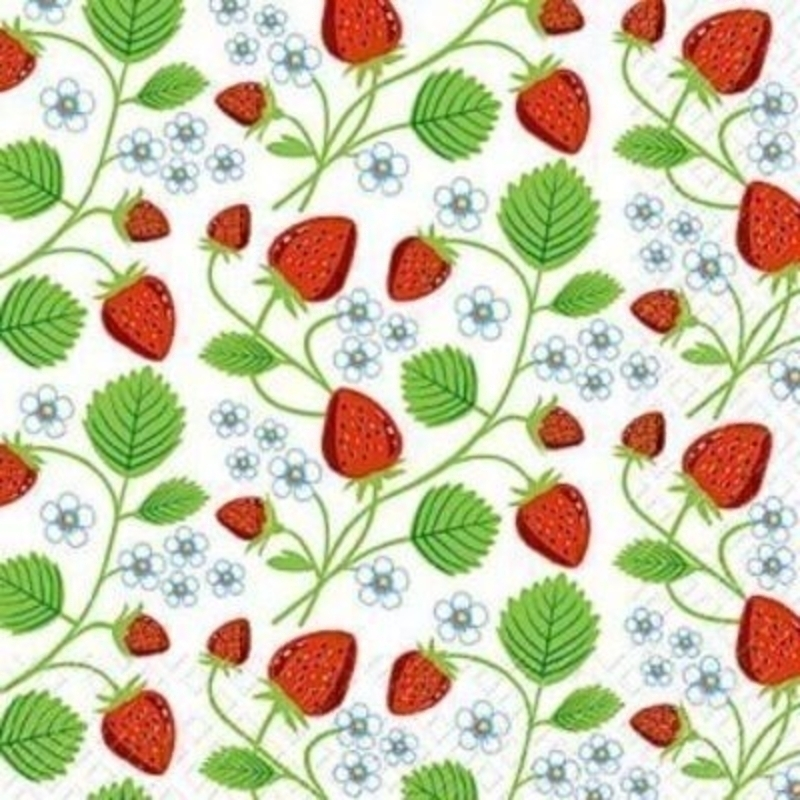 Strawberry Fresa Napkin by Stewo. Quality Table Napkins. 20 serviettes / napkins in a packet. 3 Ply. Size 33x33cm. Environmentally friendly cellulose printed with water based inks.
