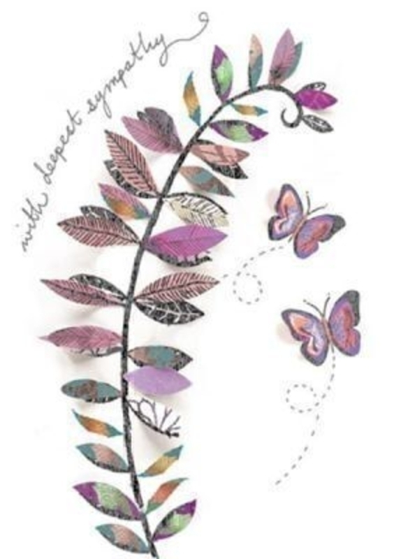 Sympathy Card Butterflies by Artisan. 'With deepest sympathy' on the front with picture of leaves and butterflies. 'Thinking of you at this time of sorrow' on the inside. Comes with a purple envelope. Size 17x12cm