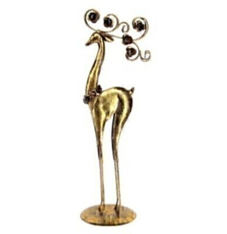 Tall Gold Christmas Reindeer Ornament by Gisela Graham: Booker Gifts