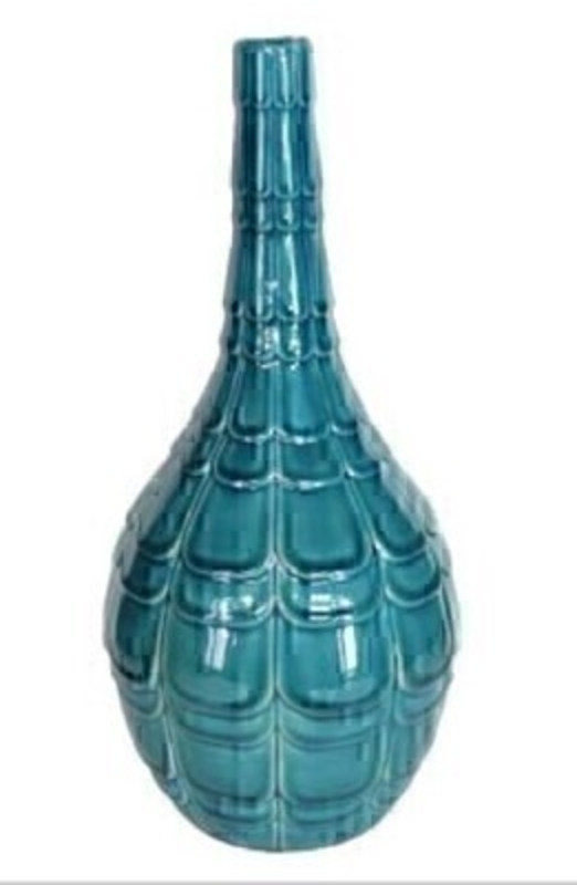 Teal Ceramic Embossed Vase Ornament - by Gisela Graham: Booker Gifts