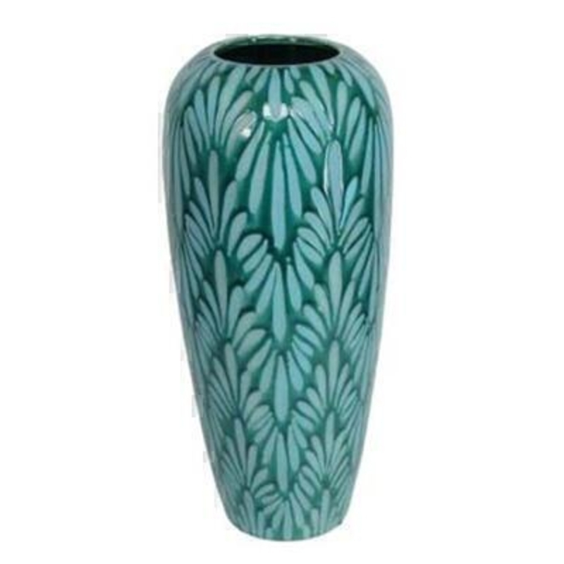 Contemporary teal ceramic modern art patterned vase by Gisela Graham. This stunning vase is a statement piece all homes deserve. Size 15.5x35x15.5cm