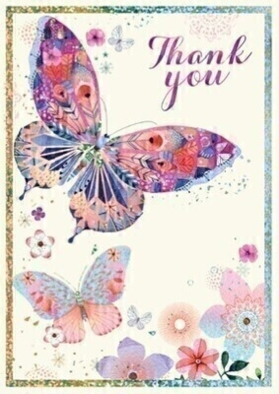 Thank You Butterfly Card by Paper Rose: Booker Gifts
