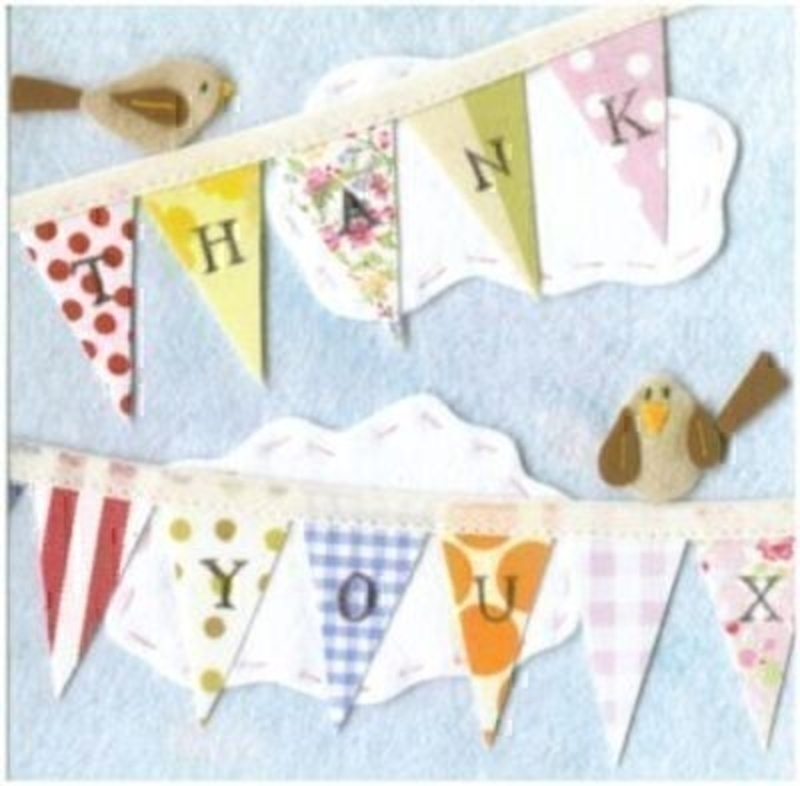 Thank You Card Birdsong and Bunting by the Art Group: Booker Gifts