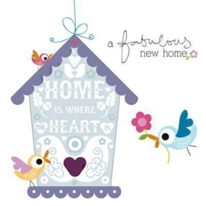 Fantastic new home card designed by the Art Group. This beautiful card features a bird house and small birds surrounding it. The artwork is colourful and quirky. Provided by Paper Rose - the envelope is a dark blue and the size is 6