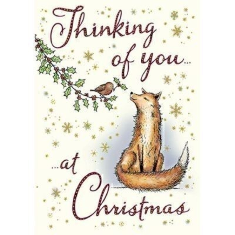 Thinking of you at Christmas Card - Fox by Paper Rose: Booker Gifts