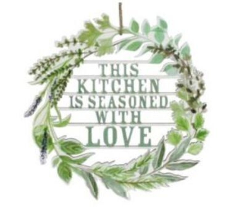 If you would like a gift for the kitchen and then this sign saying This Kitchen is Seasoned With Love Laser Cut from wood in a wreath Decoration by designer Gisela Graham wold make the perfect present. This wooden sign is a lovely present for any Mum who enjoys spending time in the kitchen. Featuring the quote in a pale green colour and surrounded by herbs in the wreath design. Made from wood. Size: (LxWxD) 20x20x0.25cm