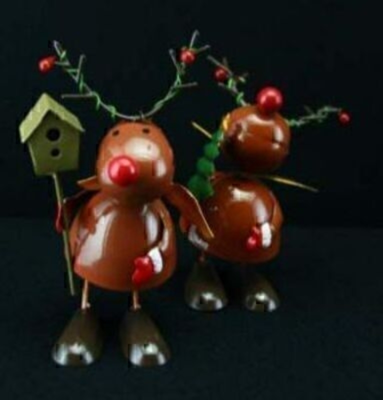 Tin Wobbling Reindeer By Gisela Graham - Choice Of 2: Booker Gifts