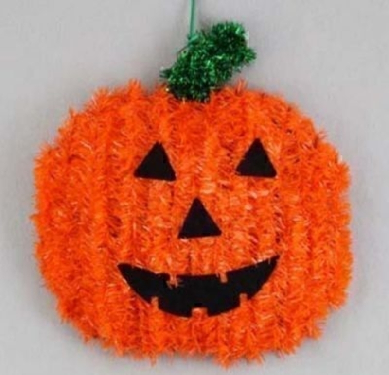 Tinsel Pumpkin Head Halloween Ornament by Gisela Graham. Orange tinsel pumpkin head hanging decoration. Great Halloween Party decoration. Size 26cm